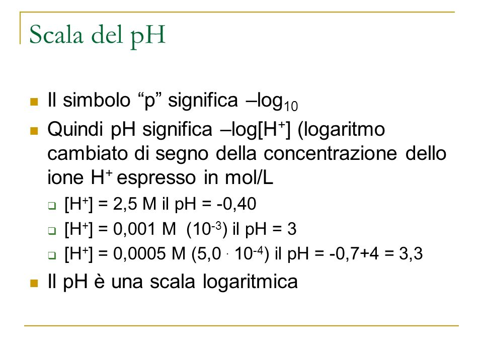 Scala del pH Il simbolo p significa –log10