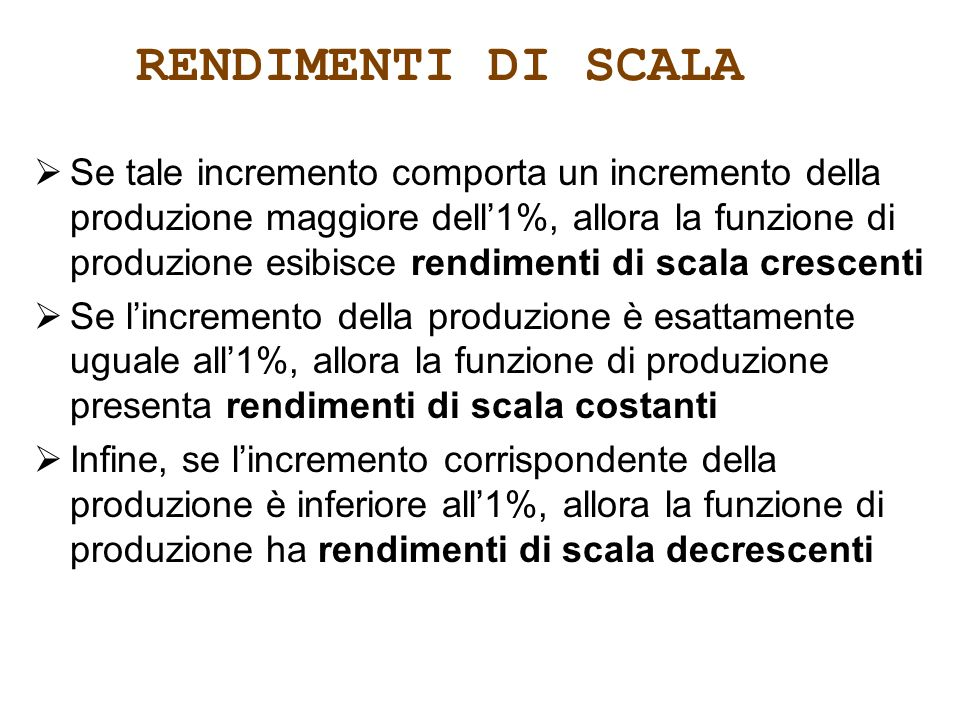 RENDIMENTI DI SCALA