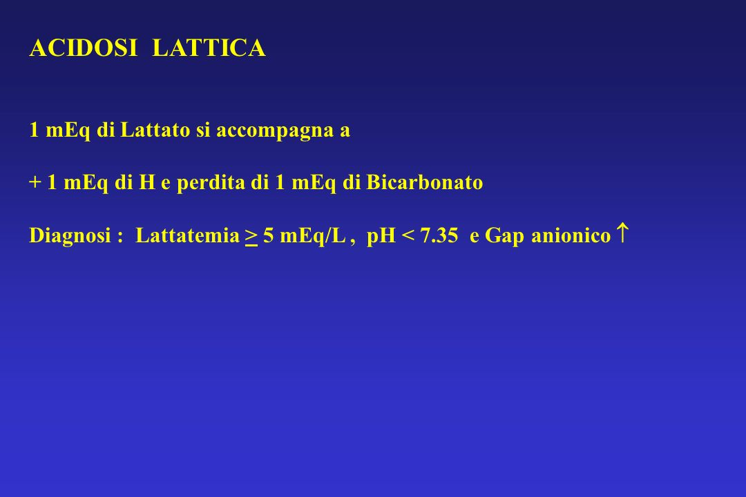 ACIDOSI LATTICA 1 mEq di Lattato si accompagna a