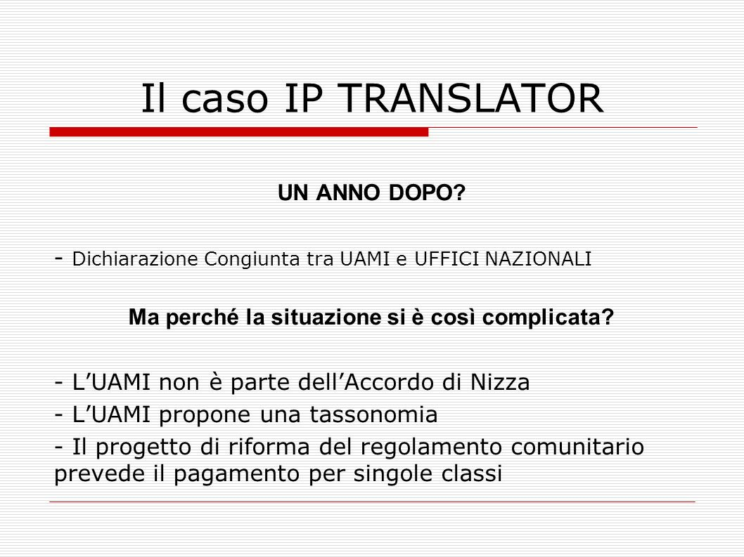 Il caso IP TRANSLATOR