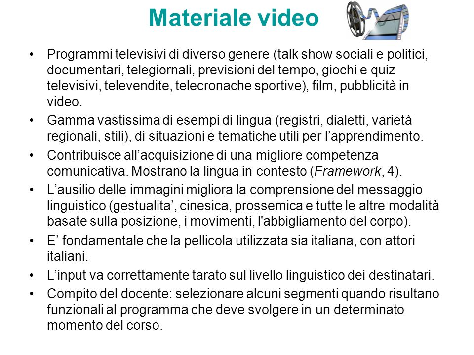 Materiale video