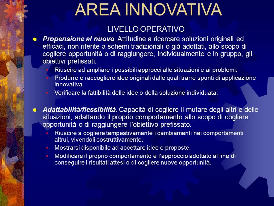 AREA INNOVATIVA LIVELLO OPERATIVO