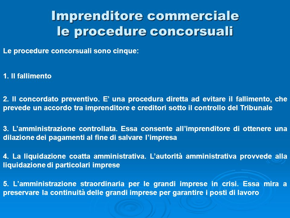 Imprenditore commerciale le procedure concorsuali