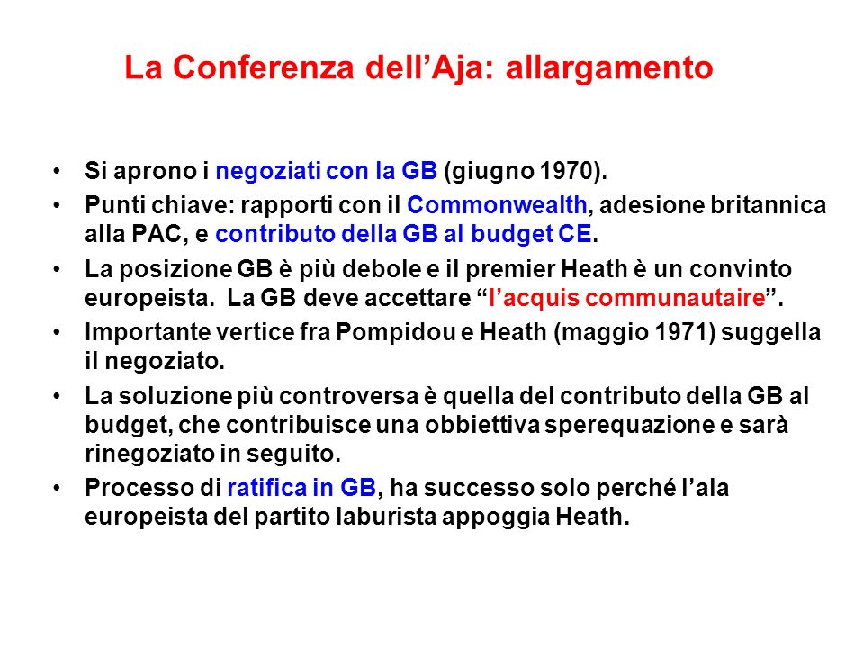 La Conferenza dell'Aja: allargamento