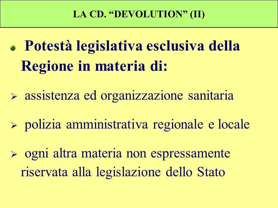LA CD. DEVOLUTION (II)