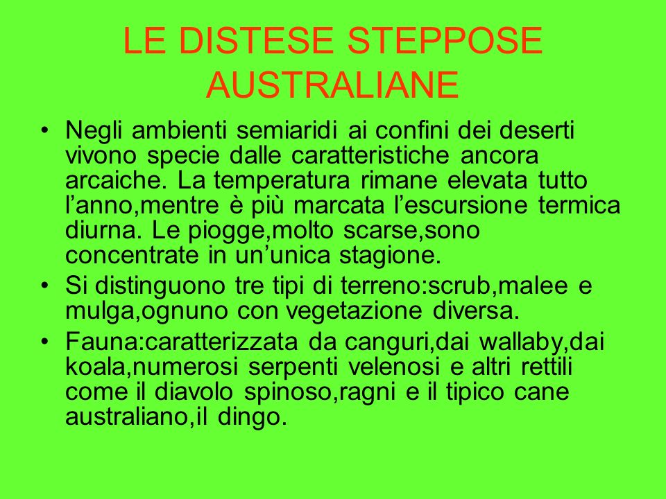 LE DISTESE STEPPOSE AUSTRALIANE