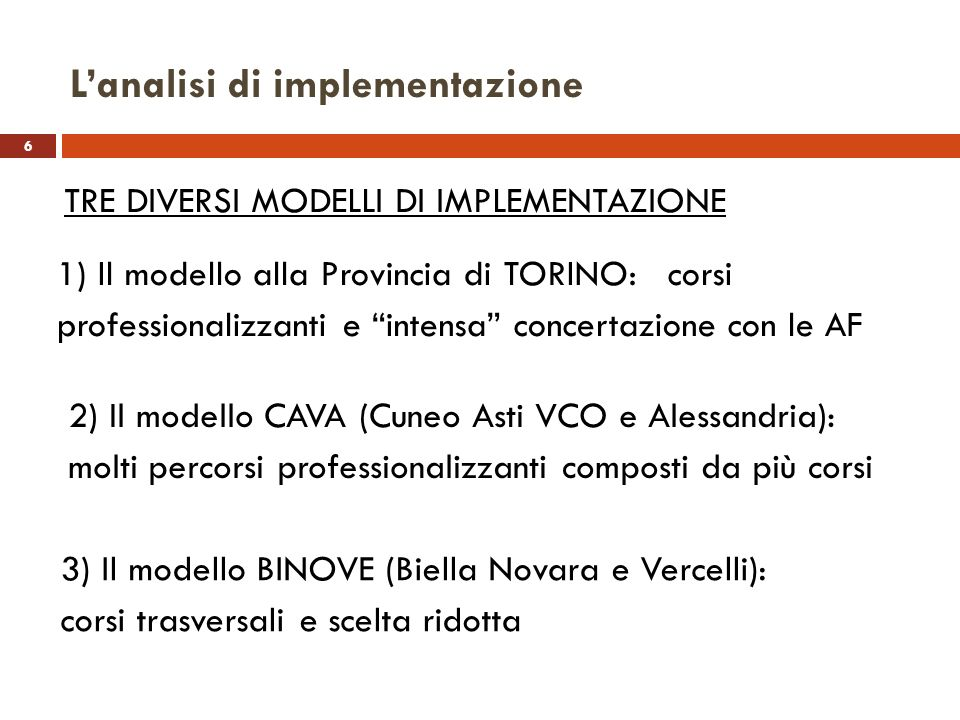 L'analisi di implementazione
