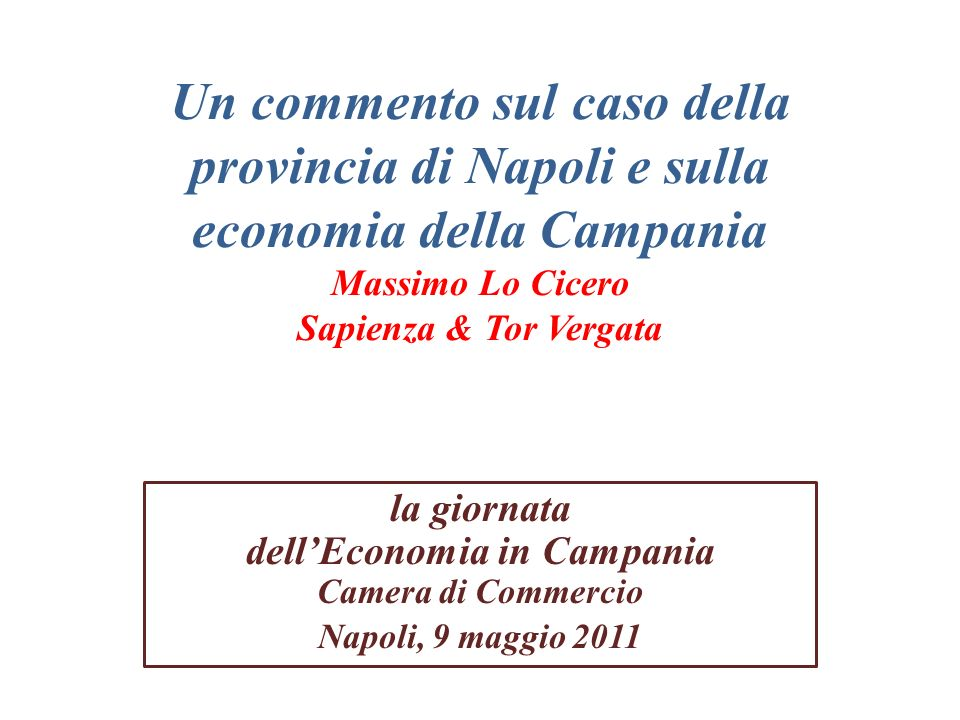 la giornata dell'Economia in Campania Camera di Commercio
