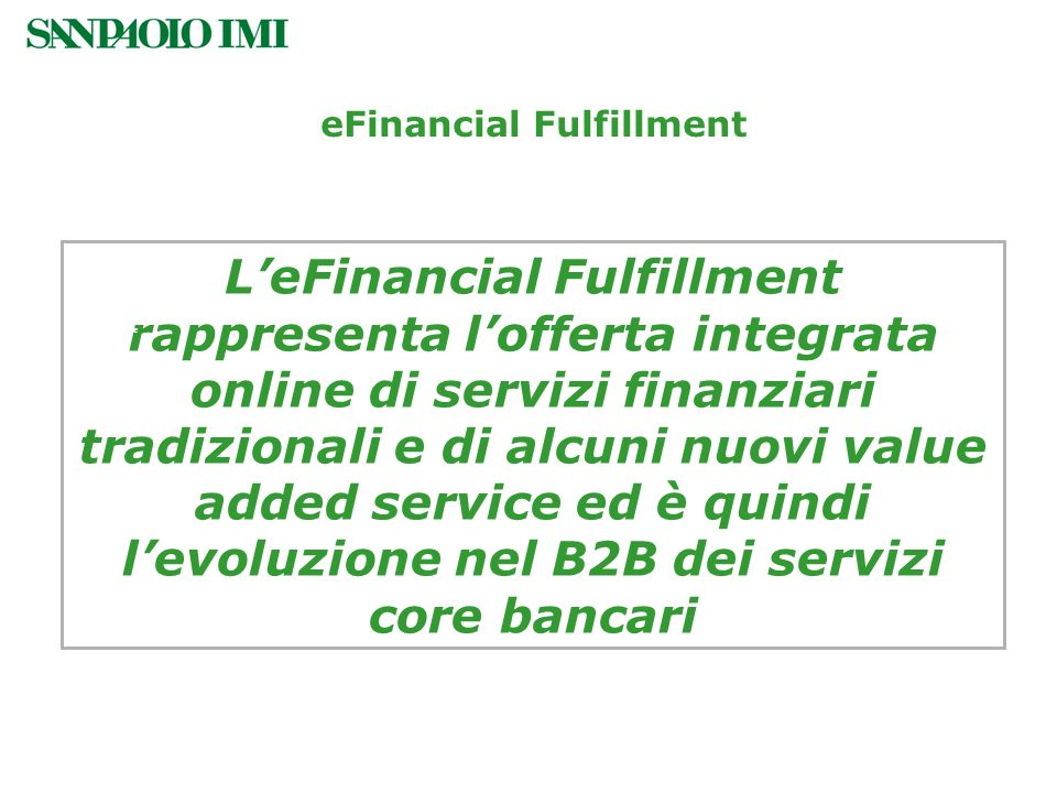 eFinancial Fulfillment — eFinancial Fulfillment Framework —