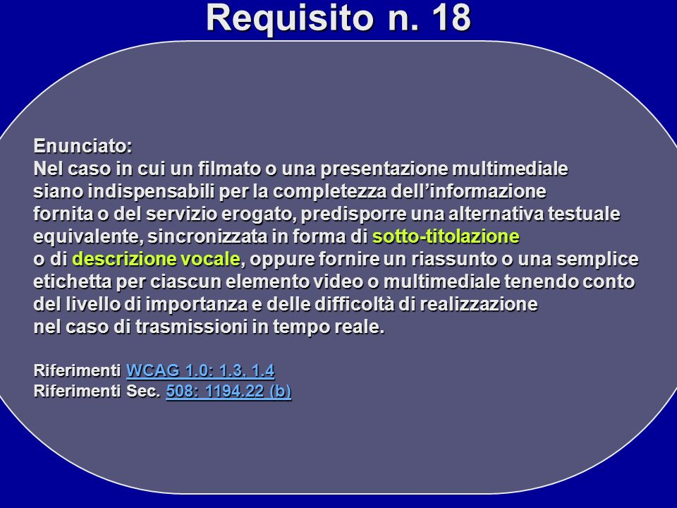 Requisito n. 18 Enunciato: