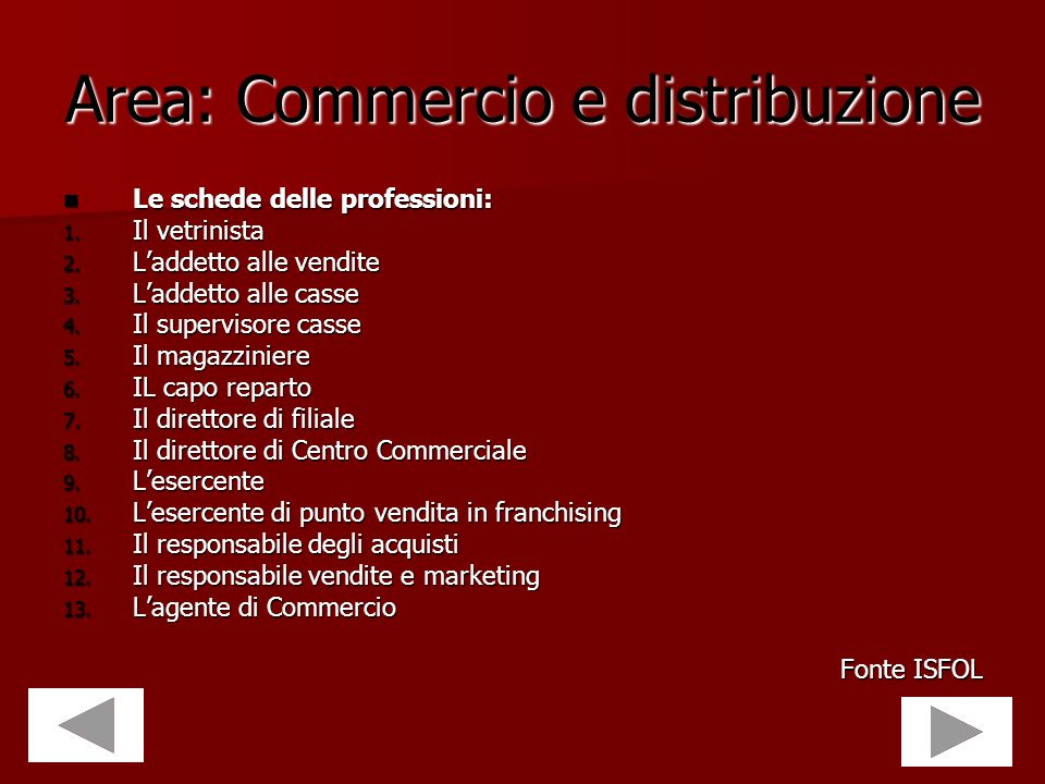 Area: Commercio e distribuzione
