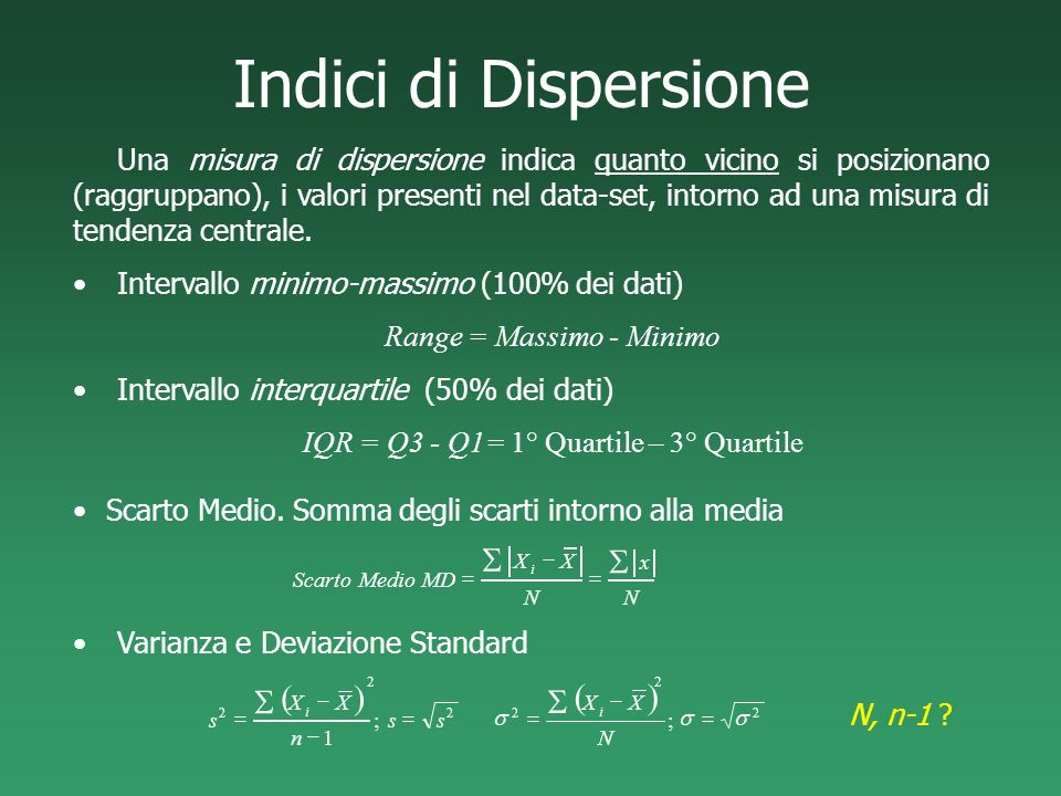 Indici di Dispersione ( ) S ( ) S S