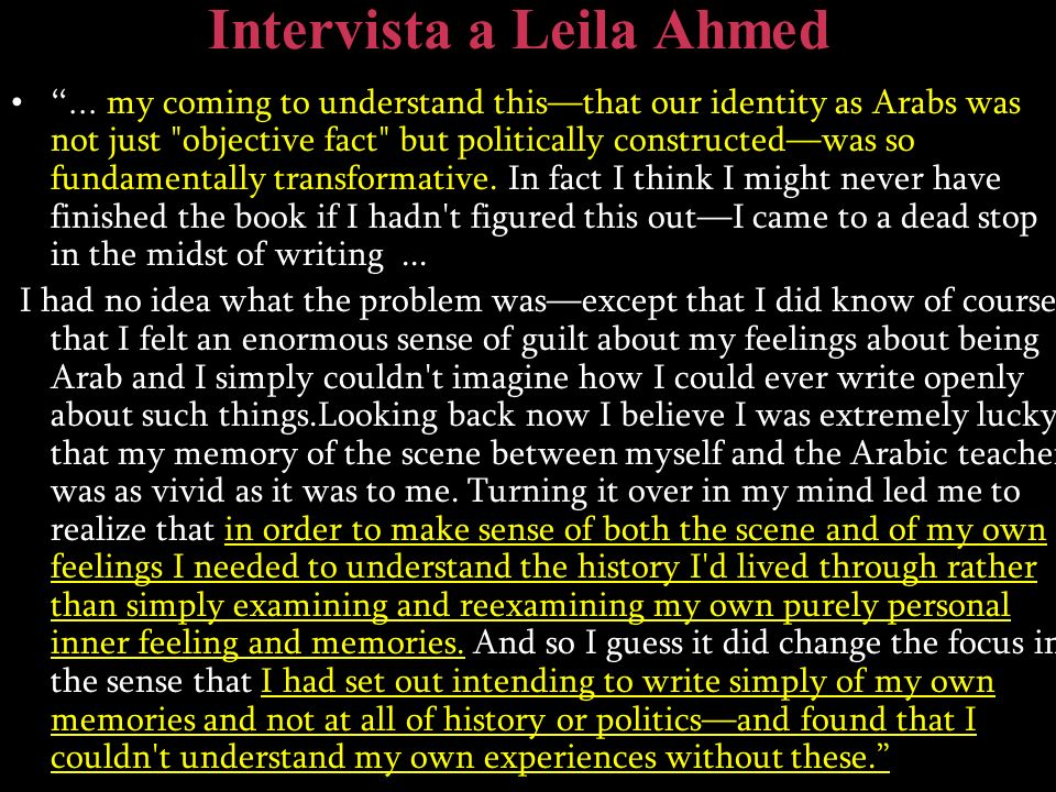 Intervista a Leila Ahmed