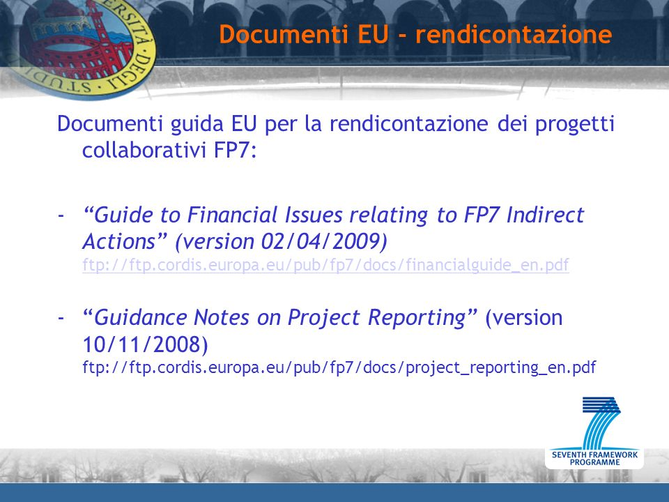 Documenti EU - rendicontazione