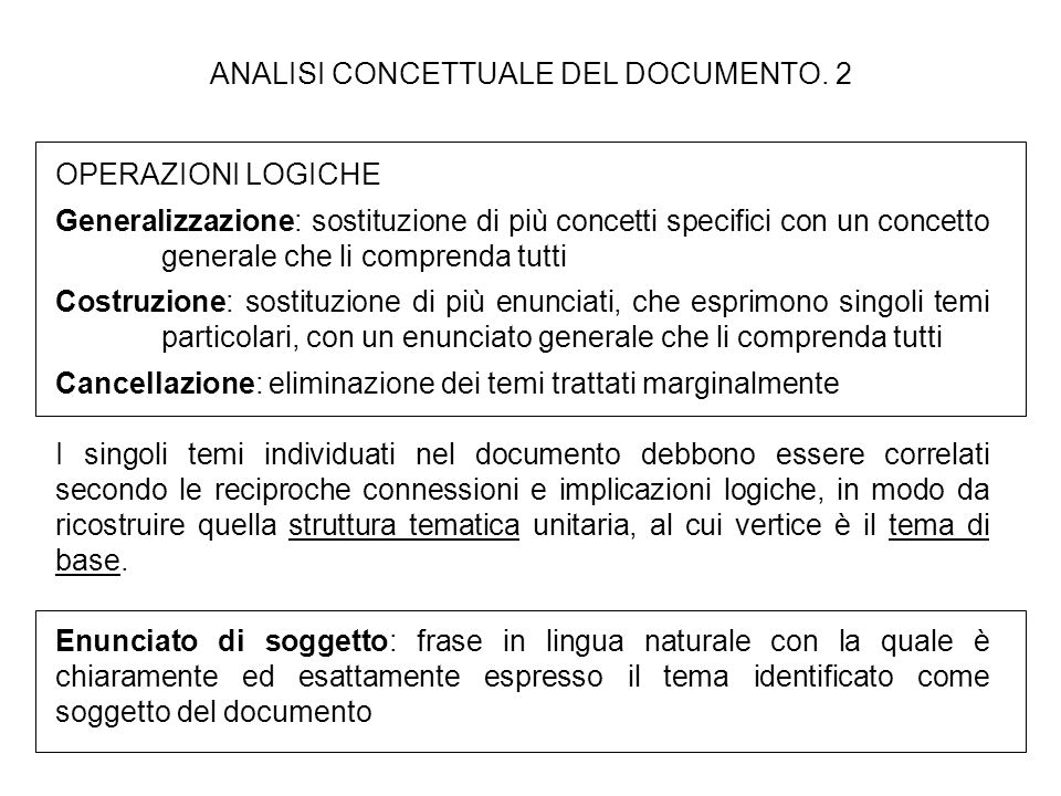 ANALISI CONCETTUALE DEL DOCUMENTO. 2