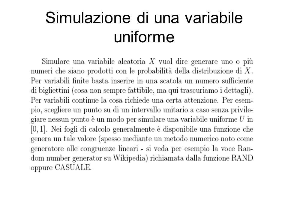 Simulazione di una variabile uniforme