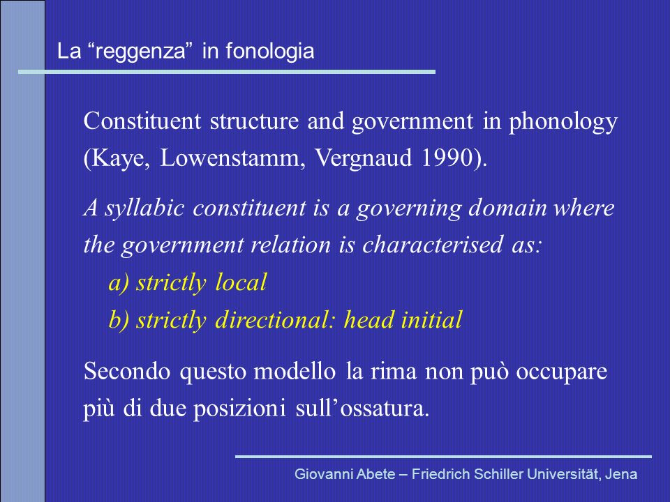 Constituent structure and government in phonology