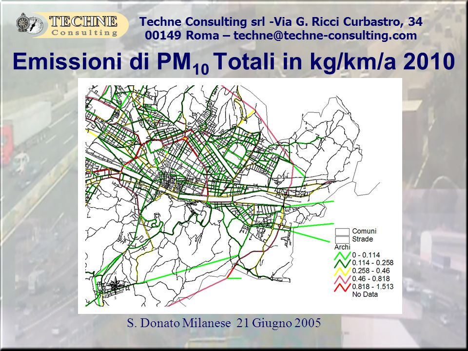 Emissioni di PM10 Totali in kg/km/a 2010