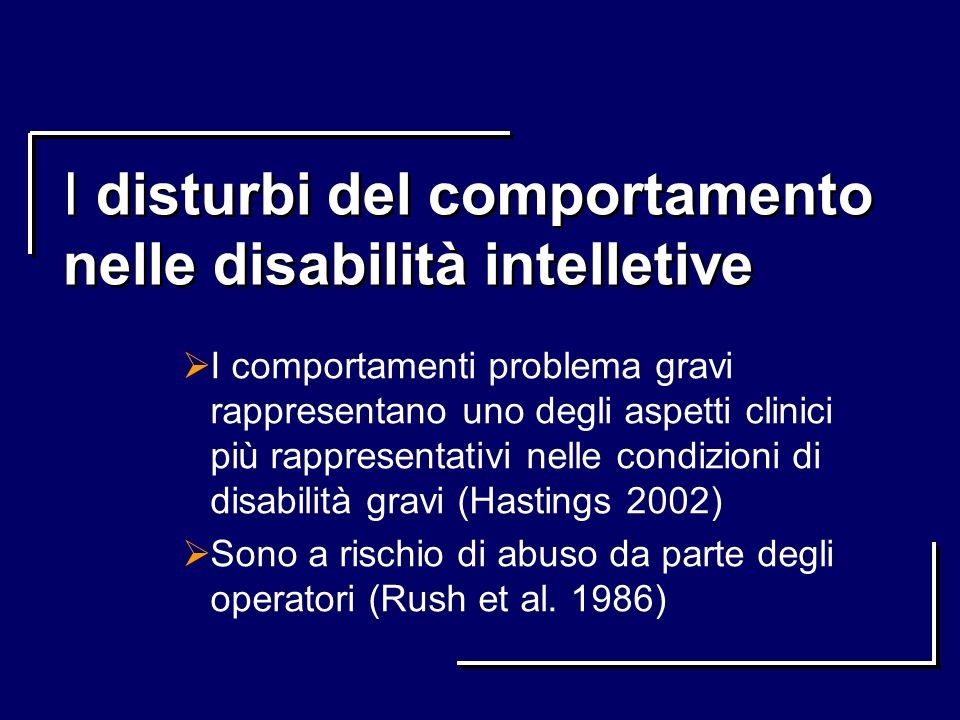 I disturbi del comportamento nelle disabilità intelletive