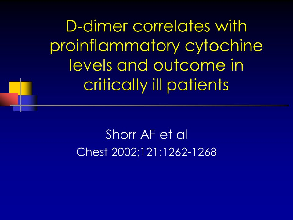 D-dimer correlates with proinflammatory cytochine levels and outcome in critically ill patients