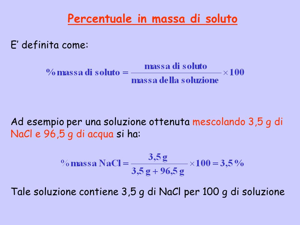 Percentuale in massa di soluto