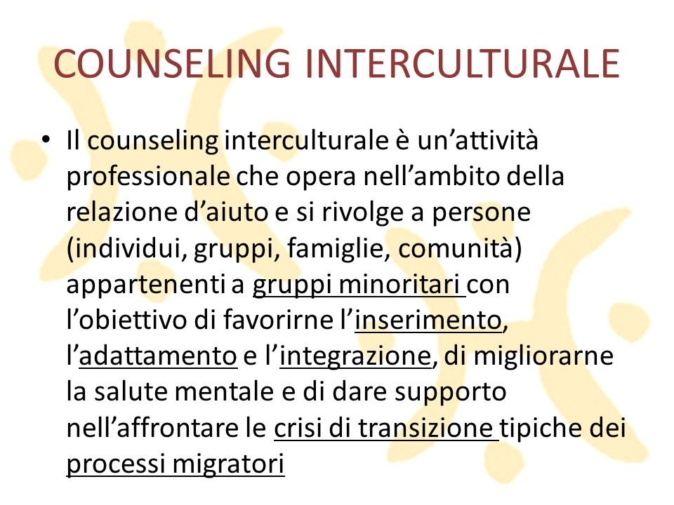 COUNSELING INTERCULTURALE