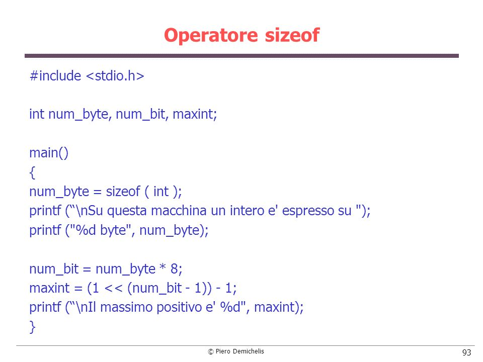 Operatore sizeof #include <stdio.h>
