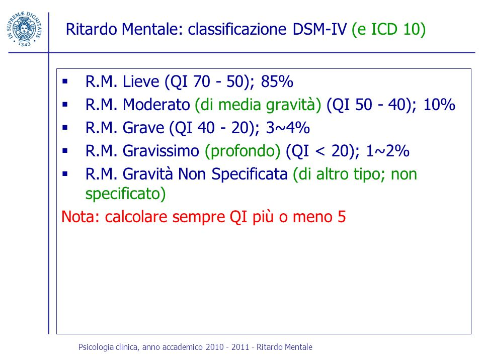 Ritardo Mentale: classificazione DSM-IV (e ICD 10)