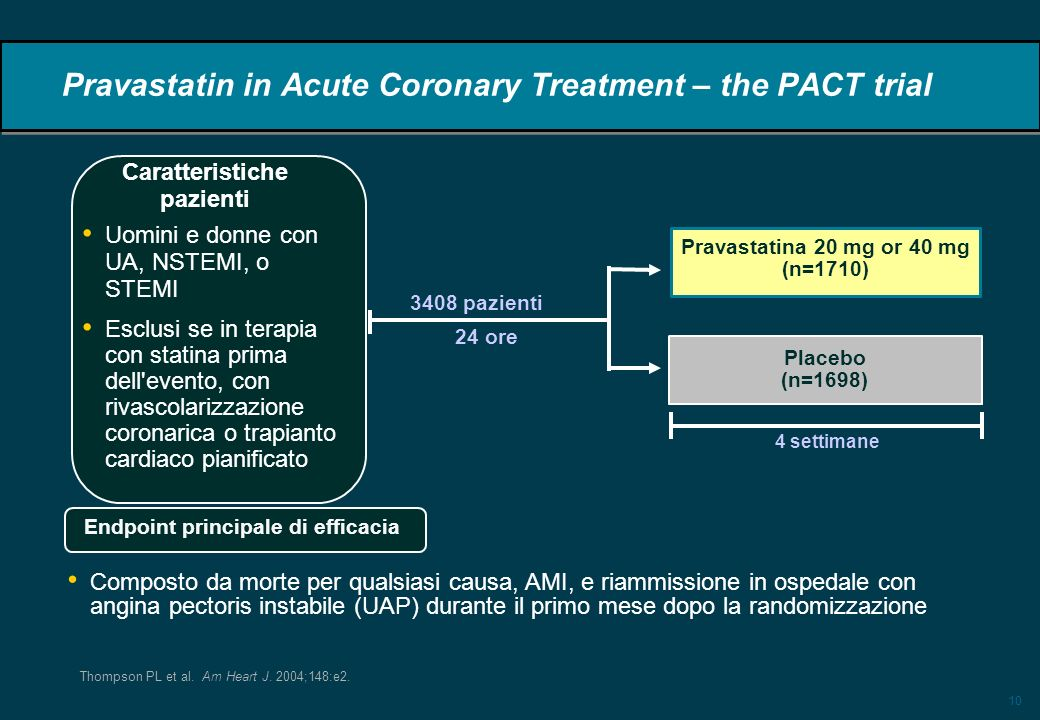 Pravastatin in Acute Coronary Treatment – the PACT trial