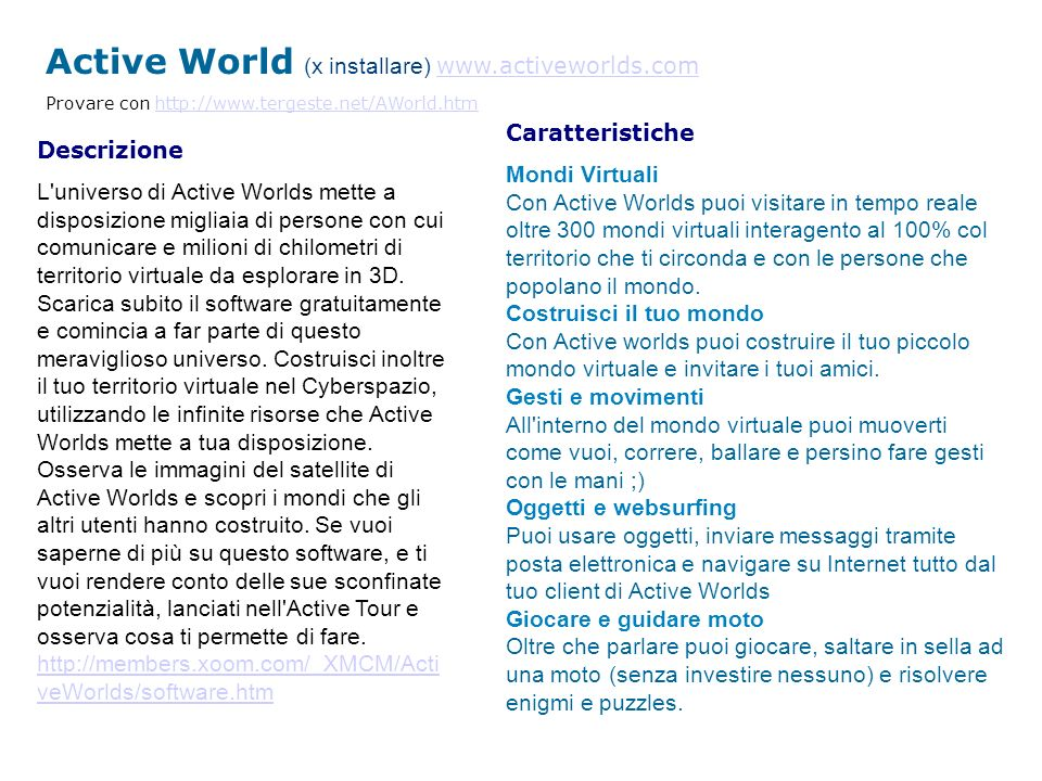 Active World (x installare) www.activeworlds.com