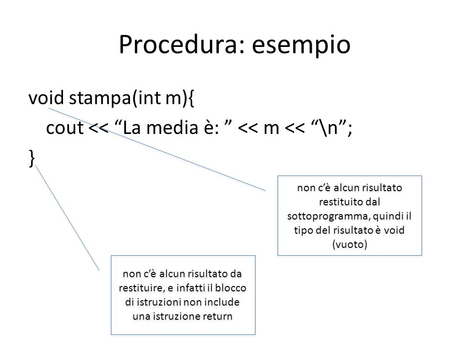 Procedura: esempio void stampa(int m){ cout << La media è: << m << \n ; }