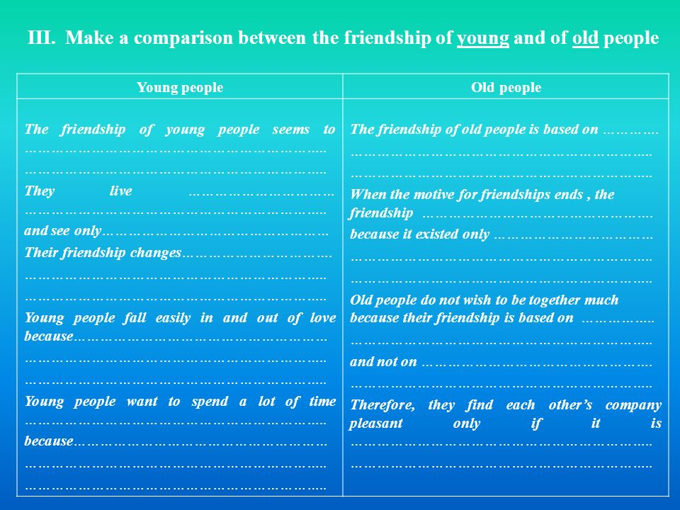III. Make a comparison between the friendship of young and of old people