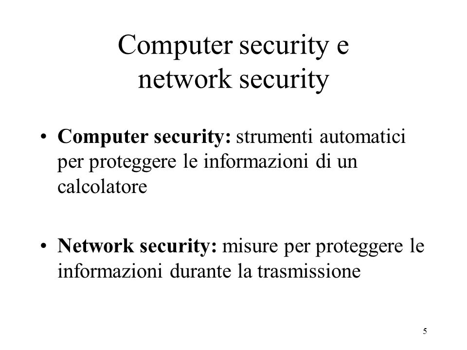 Computer security e network security