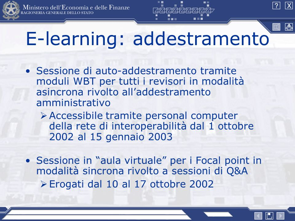 E-learning: addestramento