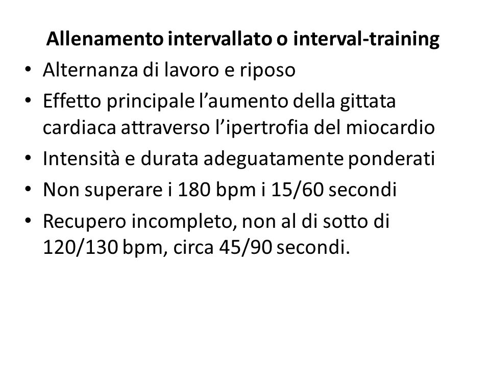 Allenamento intervallato o interval-training