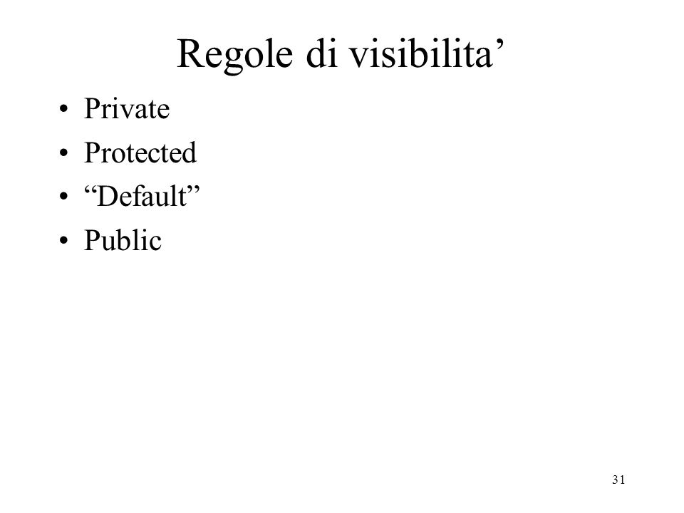Regole di visibilita' Private Protected Default Public