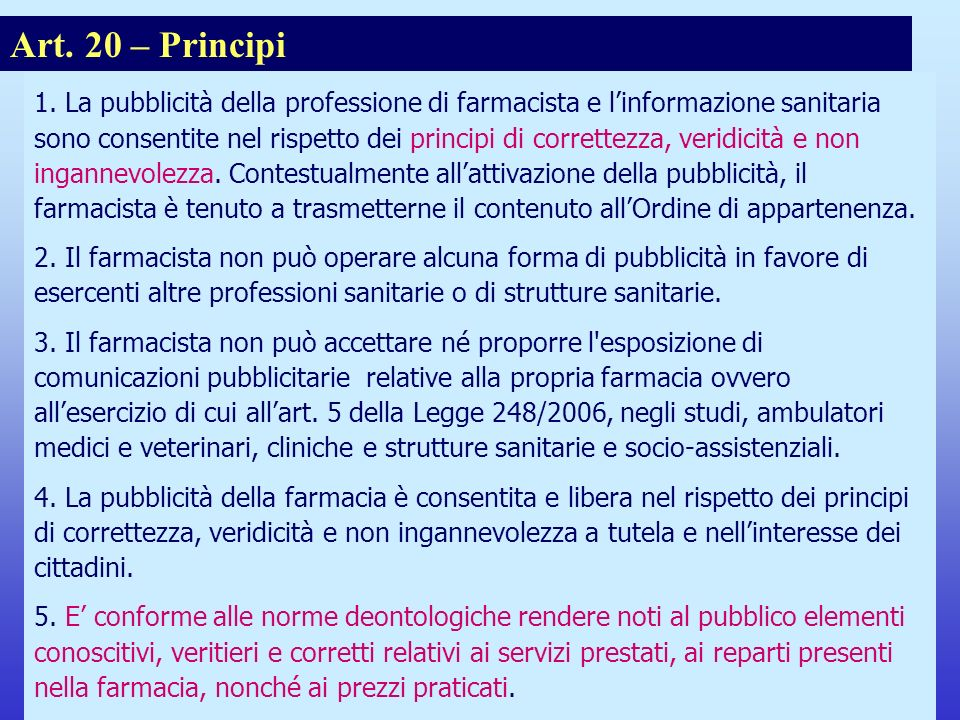 Note per il relatore Art. 20 – Principi.