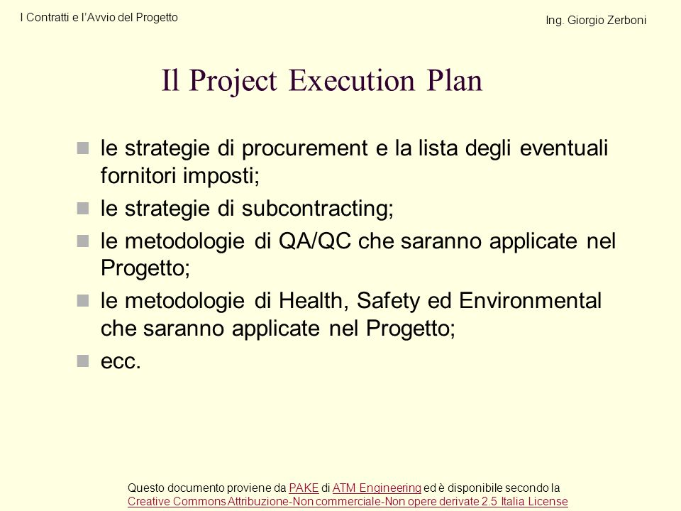 Il Project Execution Plan