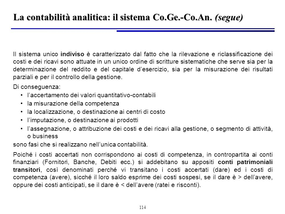 La contabilità analitica: il sistema Co.Ge.-Co.An. (segue)