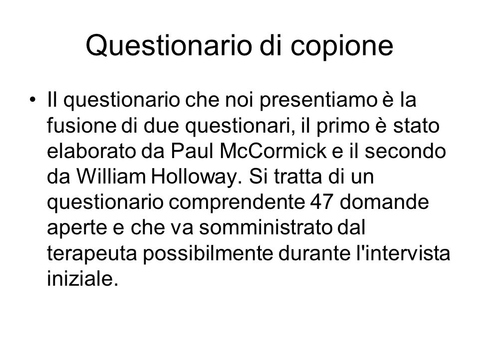 Questionario di copione