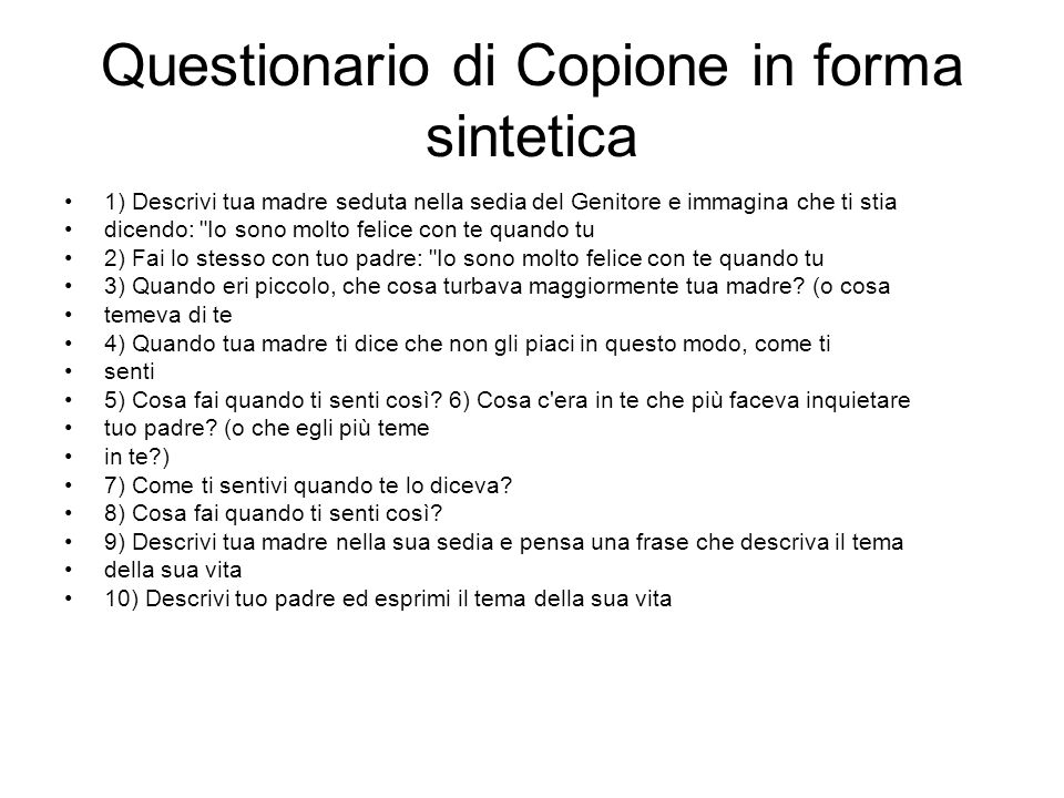 Questionario di Copione in forma sintetica