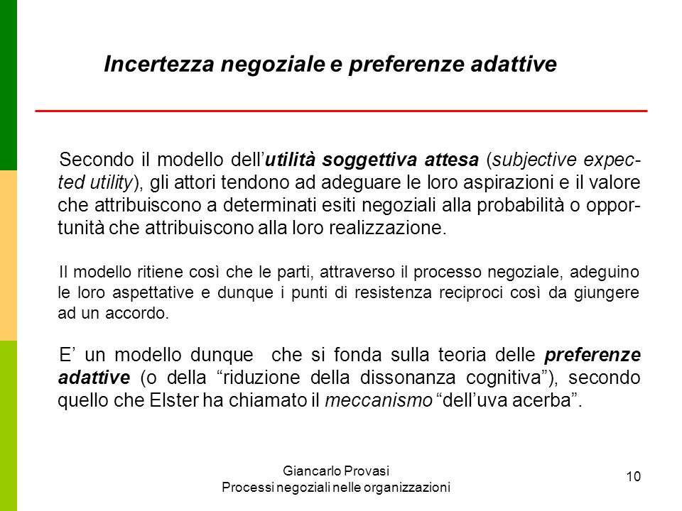 Incertezza negoziale e preferenze adattive