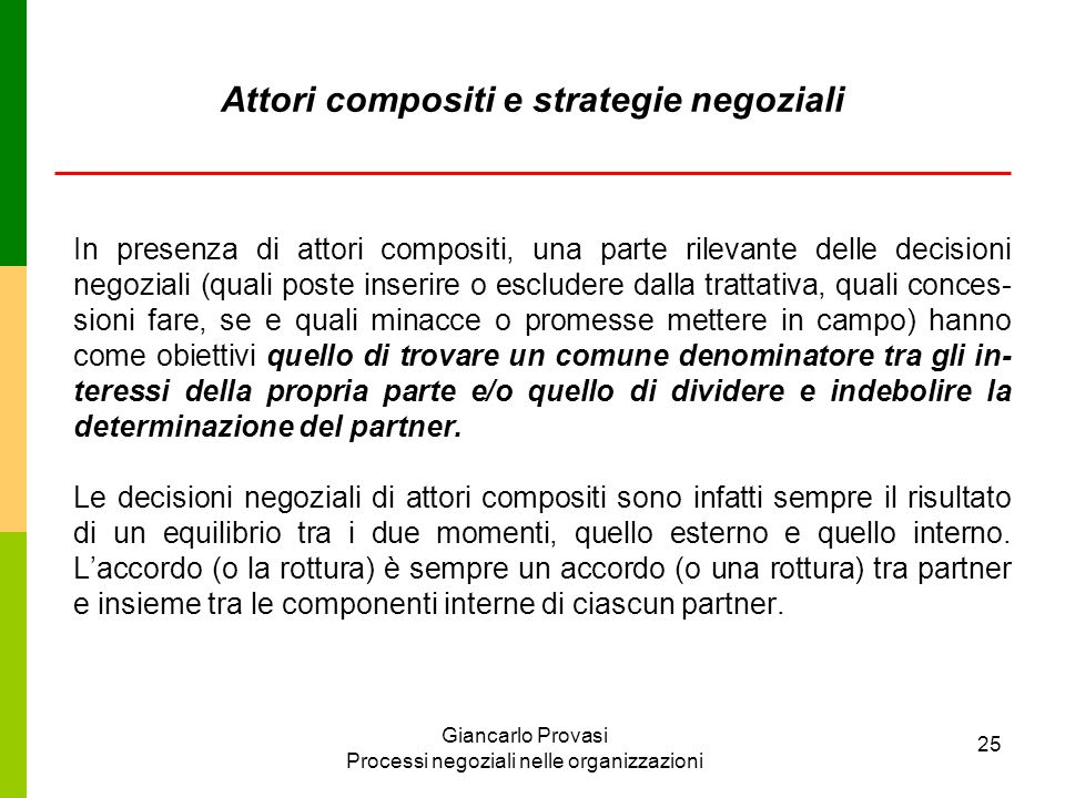 Attori compositi e strategie negoziali