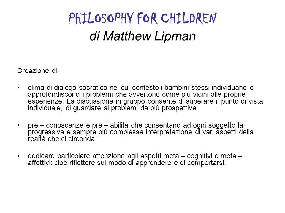 PHILOSOPHY FOR CHILDREN di Matthew Lipman