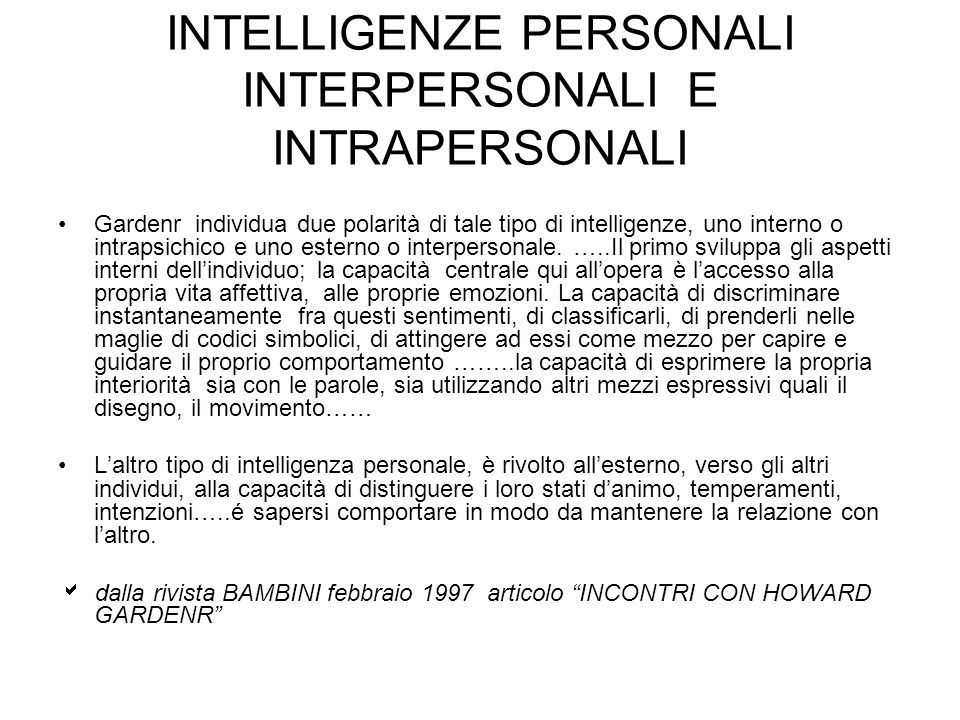 INTELLIGENZE PERSONALI INTERPERSONALI E INTRAPERSONALI