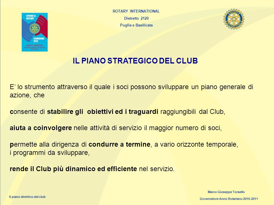 IL PIANO STRATEGICO DEL CLUB