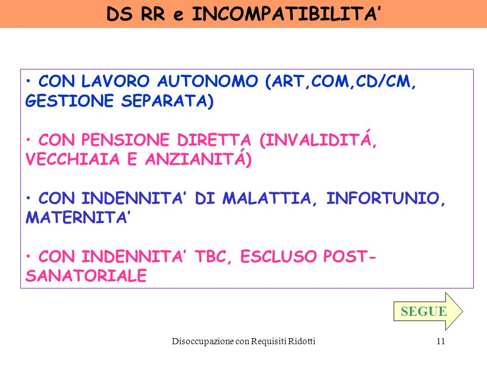 DS RR e INCOMPATIBILITA'