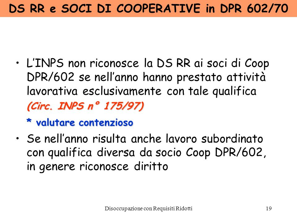 DS RR e SOCI DI COOPERATIVE in DPR 602/70