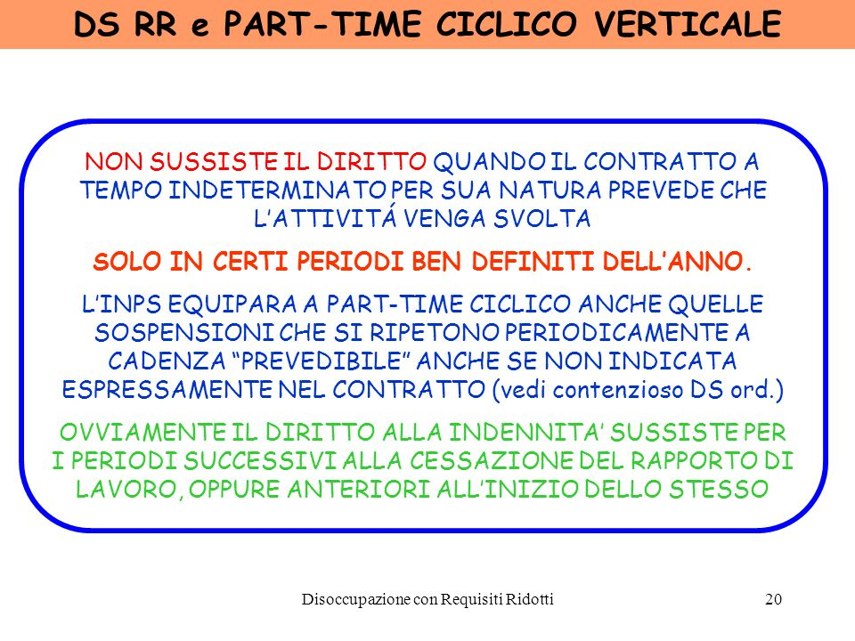 DS RR e PART-TIME CICLICO VERTICALE