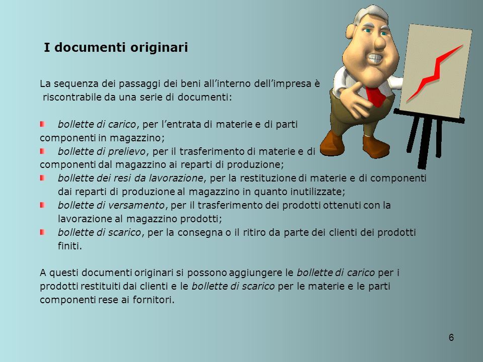 I documenti originari La sequenza dei passaggi dei beni all'interno dell'impresa è. riscontrabile da una serie di documenti: